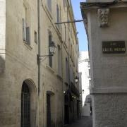 Angle de la rue du Palais des Guilhem et de la rue Castel-Moton dans le Quartier Juif médiéval de Montpellier