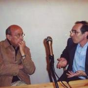 """Marc Lévy, psychiatre et psychanalyste et Alain Chekroun lors du Séminaire """"Psychanalyse et Judaïsme"""", salle des Trois Arches en 2007"""