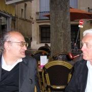 Les universitaires israéliens Moshe Idel et Eli Barnavi en 2008