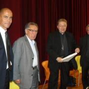 L'Archevêque de Montpellier Guy Thomazeau, le Cardinal André Vingt-Trois, le président Guy Zemmour et Michaël Iancu en 2009
