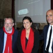 Laurent Héricher, directeur du MAHJ de Paris, Claire Garcia, responsable adjointe des Archives municipales de Montpellier et Michaël Iancu, directeur de l'Institut Maïmonide en 2012