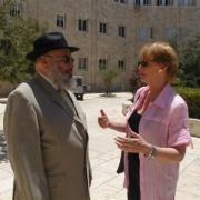 René-Samuel Sirat, président fondateur de l'Institut Maïmonide et Hélène Mandroux, maire de Montpellier à Jérusalem en 2006
