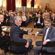 Le Maire de la Ville de Montpellier et Président de Montpellier Méditerranée Métropole Philippe Saurel, entouré de Michaël Iancu et du Grand Rabbin de France Haïm Korsia, octobre 2019